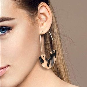 Mottled Acrylic Drop Statement Earrings